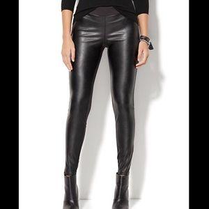 Pants - Black Faux Leather-Front High-Waist Leggings